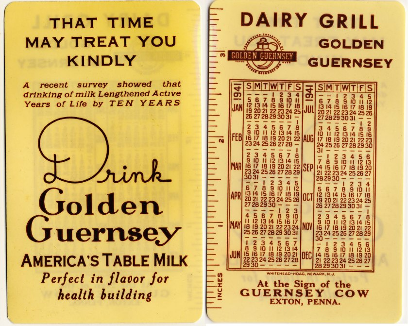 1941 Exton Dairy Grille Calendar Card