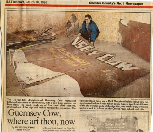 The Guernsey Cow sign in pieces in 1996