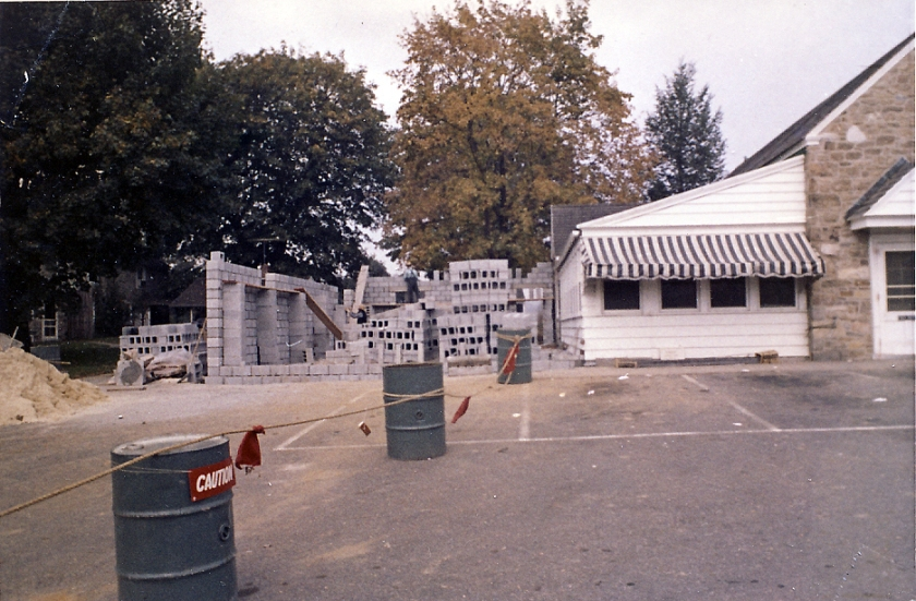 Cinderblock walls form the new exterior wall in 1967.