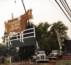 The Guernsey Cow sign rises into the air
