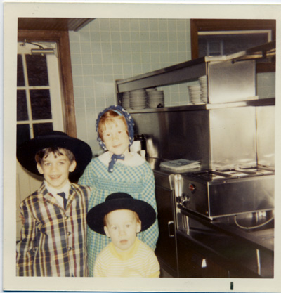 Kids wear Amish hats at The Guernsey Cow in 1970