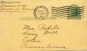 July 1941 Postcard from Mrs. Brannum to Mrs. Polite Exton PA