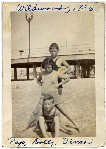 Pep (top), sister Dolly, and friend, Vince, in Wildwood NJ 1936